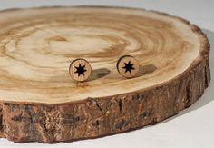 Star Stud Earrings Bamboo by BeamDesigns on Etsy