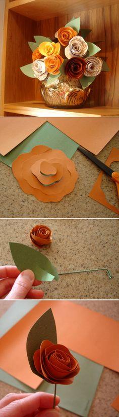 Bouquet de roses en papier - (provient d'un blog fermé)