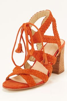 Lace Up Sandals | Women's Orange Braided Chunky Heel Sandal.