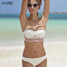 92129b9f55 2018 Push Up Bikini Set Women Bandage Swimsuit Bandeau Swimming Suit  Strapless Swimwear Patchwork Bathing Suit