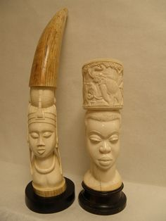 Large African Ivory Carvings