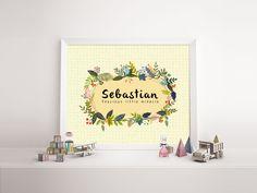 Baby name print 'Sebastian' - nursery poster print wall art