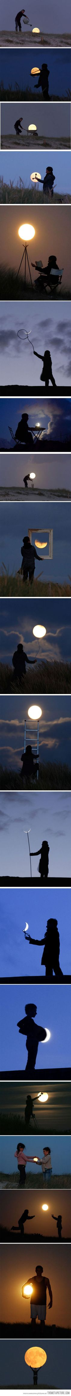Having fun with the moon… Cute ideas, could also do with sunset/sunrise