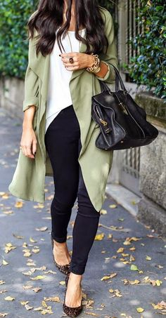 Green Plain Pockets No Button Fashion Trench Coat - Outerwears - Tops