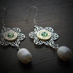 Pearl Filigree Bullet Earrings for Women