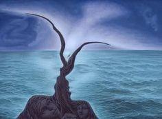 Optical illusion of a couple beside the sea.