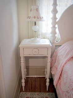 Lovely White Antique Nightstand