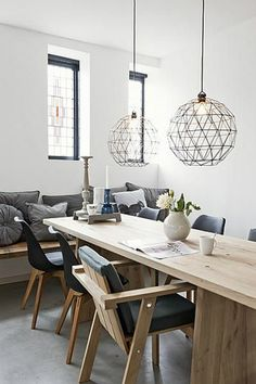 How do you feel about this round geometric lamps for a modern dining room design? For more inspirational ideas take a look: homedecorideas.eu/ #interiordesign #luxury #decoration