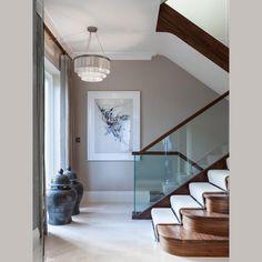 Entry // We love our Silver Chain Shallow Chandelier in contemporary staircase design. #tigermothlighting #craftsmanship #handmade #handcraftedelegance #decorativelighting #customlighting #bespokelighting #britishdesign #madeinengland #luxurylighting #interiordesign