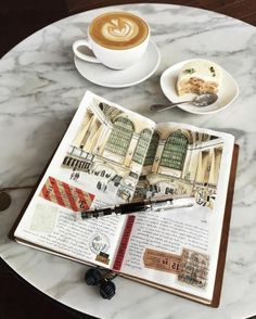 scrapbook layouts sketchbook with colorful drawing old travel tickets white coffee cup with latte a dessert plates pen marble table Travel Tickets, Travel Maps, Travel Photos, Travel Journals, Travel Ideas, Voyage Sketchbook, Travel Sketchbook, Citation Photo Insta, White Coffee Cups