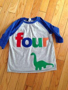 Items similar to Four dinosaur birthday t shirt, boys dino birthday shirt, birthday dinosaur shirt, reglan style shirt, primary colors shirt on Etsy