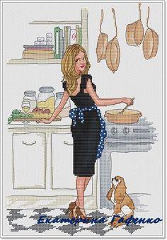 0 point de croix femme robe noire faisant la cuisine - cross stitch girl in black dress cooking