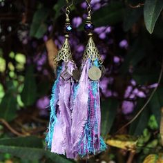 Bejeweled Upcycled Sari Silk Scrap Earrings  lilac and blue Handmade by White Raven Designs