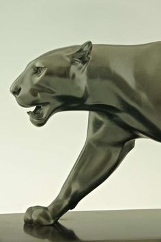 Art Deco Sculpture of Walking Panther by Max Le Verrier | From a unique collection of antique and modern sculptures at https://www.1stdibs.com/furniture/decorative-objects/sculptures/