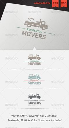 Residential Movers Logo Template  #GraphicRiver         Simple, clean and modern logo template perfect for a wide range of transportation and real estate businesses like: Furniture Moving Company, Furniture Storage, Furniture Transport or Furniture Removals Services.   Simple to work with and highly customizable, it ca be easily adjusted to fit your needs.