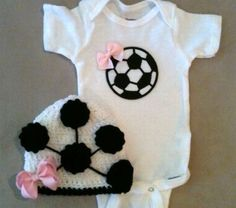 Soccer outfit for baby girls - Soccer onesie w/ bow and matching crochet soccer beanie hat. $38.00, via Etsy.
