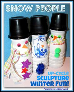 UpCycled Snow People Sculpture via RainbowsWithinReach
