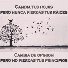 Cambia de opinión pero no pierdas tus principios. #frases