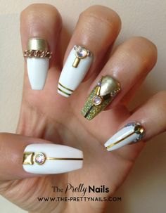 Gold on White False Nail Set by ThePrettyNails on Etsy, £15.00