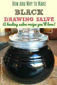 Black drawing salve is an herbal healing salve that pulls out splinters, helps boils go away, solves pimple problems, and helps draw out things that don't belong in your skin. This black salve recipe smells GREAT too! Find out what black drawing salve is Healing Herbs, Natural Healing, Natural Oil, Holistic Healing, Natural Beauty, Natural Health Remedies, Herbal Remedies, Boil Remedies, Holistic Remedies