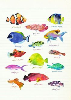 """Fish"": High quality Art Print by London based illustrator Marcel George. Archival inks on matte, ultra smooth 310g cotton rag, A3/A2, via orangerie-prints.com"