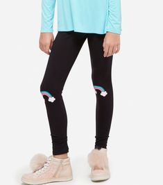 Nwt New Justice Dance Logo Leggings Pants Tight Fit Dancer Silky Black Nice Girl