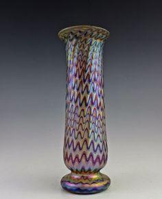 Gorgeous Bohemian Art Deco Glass Vase Czech Iridescent Glass