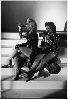 Taking a break on the set of Gentlemen Prefer Blondes.