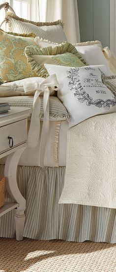 French country bedding, soft florals, matelasse, ticking stripe. message DesignNashville for quotes on duvet covers and bedding