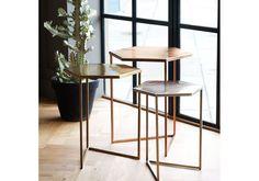 Set of Three Hexagon Metallic Nesting Tables. Oliver Bonus.