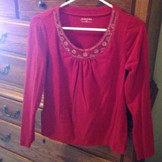 St Johns bay red top Long sleeve red top Tops Blouses