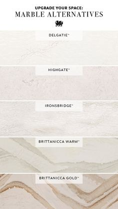 Cambria's Marble Collection offers stunning tones and movement, with inviting warmth and intriguing depth. Each white quartz countertop design is an ideal alternative to marble countertops, offering maintenance-free luxury and durability. Designs such as Delgatie, Highgate, Ironsbridge, Brittanicca Warm, and Brittanicca Gold offer the beauty of white marble with the superior performance of Cambria. #whitequartzcountertops #countertopredo #countertopideas