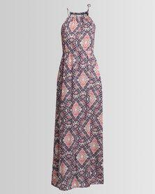 Utopia Maxi Printed Dress Coral/Blue