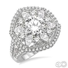 2 Ctw Diamond Semi-mount Ring in 14K White Gold