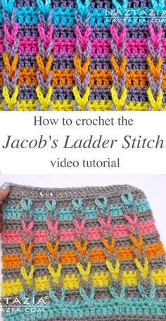 crochet stitches Be a part of todays trends in the world of crochet by trying out the Jacobs ladder stitch! This trendy loopy braid is an nice technique for crocheters. Crochet Stitches For Beginners, Crochet Stitches Patterns, Crochet Videos, Knitting Patterns, Knitting Tutorials, Knit Stitches, Loom Knitting, Free Knitting, Stitch Patterns