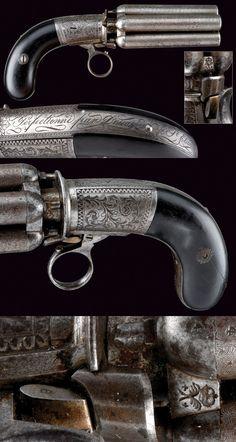 Pepperbox Revolver by Dessagne, France quarter century. Weapons Guns, Guns And Ammo, Arm Armor, Cool Guns, Cannon, Firearms, Hand Guns, Arsenal, Revolvers