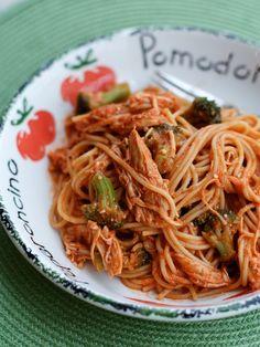 Crock Pot Creamy Chicken Spaghetti | AggiesKitchen.com  #crockpot #slowcooker #chicken #pasta