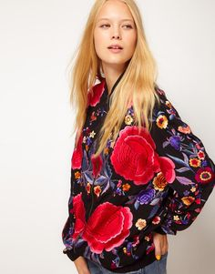 ASOS | ASOS Bomber Jacket With All Over Embroidery at ASOS