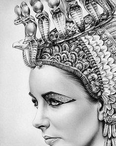 """Elizabeth Taylor Pencil Portrait"" Ileana Hunter {contemporary figurative realism art beautiful Cleopatra woman face b+w drawing}"