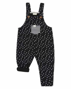 Turtledove London black print unisex dungarees are made from organic cotton sweatshirt fabric. An easy fit shape in the trousers with added features.