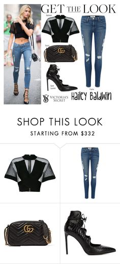"""""""Hailey Baldwin Victoria's Secret Fashion Show 2017 Casting in New York August 21 2017"""" by valenlss ❤ liked on Polyvore featuring Balmain, Frame, Gucci, Yves Saint Laurent and Victoria's Secret"""