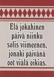 Finnish quote (with old spelling) 'Live your life like it was the final day, one day you'll be sure right' / Viisaita sanoja Real Life Quotes, Some Quotes, Meanwhile In Finland, Cool Words, Wise Words, Learn Finnish, Finnish Words, Finnish Language, Positive Vibes