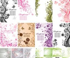 3 sets with 37 vector floral postcards with abstract swirls on the background and some place for your text. Format: EPS stock vector clip art. Free for download