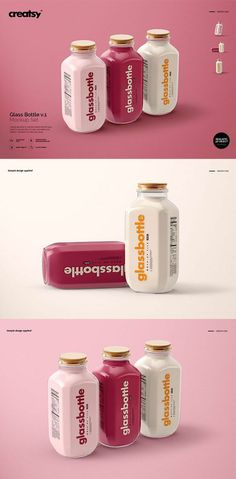 This branding mockup set for photoshop is a great way t… Glass Bottle Mockup Set. This branding mockup set for photoshop is a great way to showcase your design vision. Juice Packaging, Beverage Packaging, Bottle Packaging, Bottle Mockup, Brand Packaging, Dessert Packaging, Web Design, Email Design, Food Packaging Design