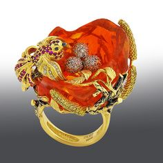 One-of-a-kind jewelry of the highest quality MASTER OF RUSSIA ~ Ring with fire opal, ruby, diamonds grit and gold