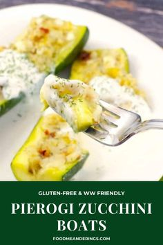 These healthy Pierogi Zucchini Boats are quick and easy, as well as gluten-free and WW friendly. #zucchini #zucchiniboats #perogy #pierogy #ukrainian #healthy #weightwatchers #wwrecipes #wwfreestyle #ww #wwmeals #glutenfree #glutenfreerecipes Wheat Free Recipes, Gf Recipes, Pork Chop Recipes, Healthy Dessert Recipes, Fish Recipes, Gluten Free Recipes, Dinner Recipes, Cooking Recipes, Healthy Food