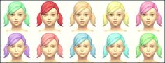 Sims 4 Downloads - Sims 4 Custom Content: Playful Colors Pigtails Hair Child