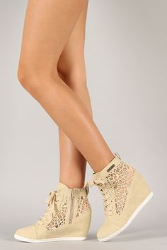 Round Toe Lace Up Sneaker Wedges