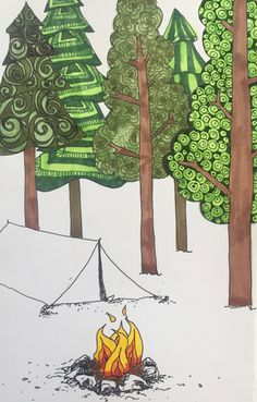 camping, pen and ink, tent, drawing, doodle by Patti-Jo 2016 Tent Drawing, Retro Campers, Zentangle, Drawing Ideas, Uni, Coloring Pages, Woods, Relax, Bullet Journal