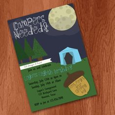 Campout Party Invitation Neutral  Digital File by CSdesignANDprint